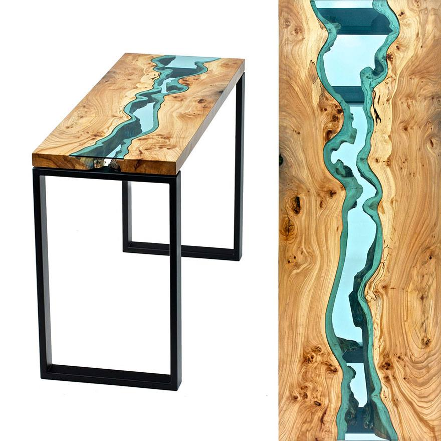 River Lake Glass Tables by Greg Klassen